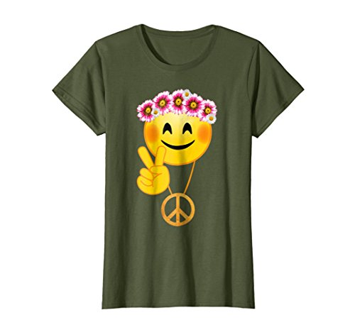 Womens Peace Sign Necklace, Hippie Flowers Smile Face, 70s, Cute Te Large Olive