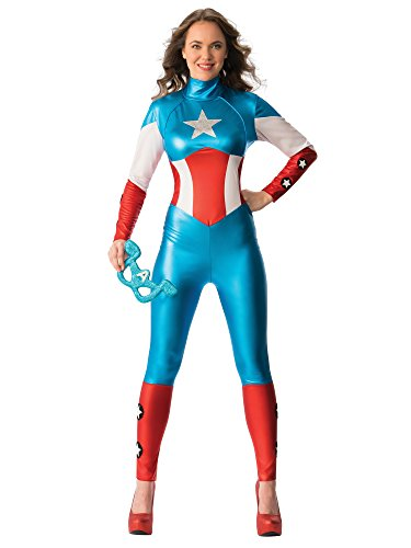 Marvel Secret Wishes Women's Universe Secret Wishes American Dream Costume Cat Suit and Eye Mask, Multicolor, Medium