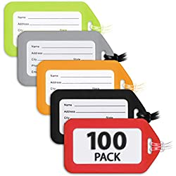 MIFFLIN Luggage Tags (Variety, 100 PK), Bag Tag for Baggage, Suitcase Tags Bulk