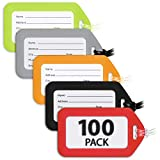 MIFFLIN Luggage Tags (Variety, 100 PK), Bag Tag for Baggage, Suitcase Tags Bulk