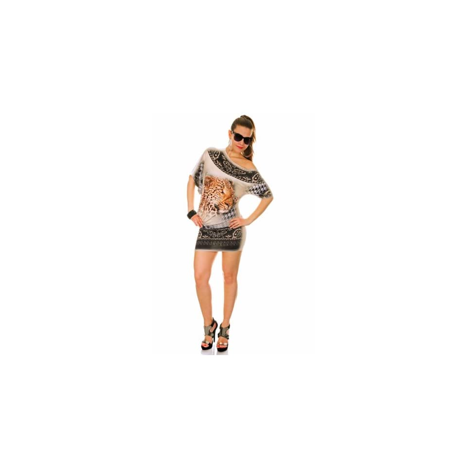 Glamour Empire Womens Leopard Print Mini Dress Short Sleeve 651 One Size Beige