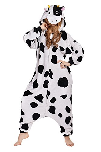 NEWCOSPLAY Cow Costume Sleepsuit Adult Onesies Pajamas (M) (Womens Cow Costume)