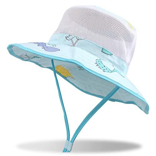 DUOYEREE Baby Sun Hat Wide Brim Neck Protection Beach Pool Toddler Girl Boy Hat (6-12 Months, Blue Dinosaur Printed)
