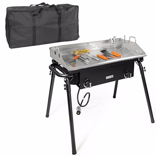 Price comparison product image XtremepowerUS Outdoor Camping Propane Griddle Stove Set 20PSI Regulator Flat Griddle Pan Griddle 2-Adjustable Burner Tailgating w / Carrying Bag