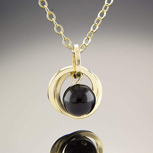 Black Onyx Gold Pendant - 20 Inch 14K Yellow Gold Fill Black Onyx Gemstone Pendant Necklace