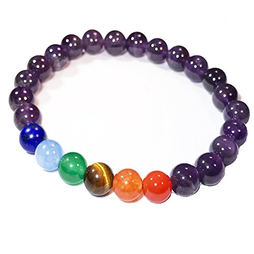 Chakra Healing Semi-Precious Stone Bead and Buddha Stretchy Elastic Bracelet, 10mm, Unisex, Friendship, Couples