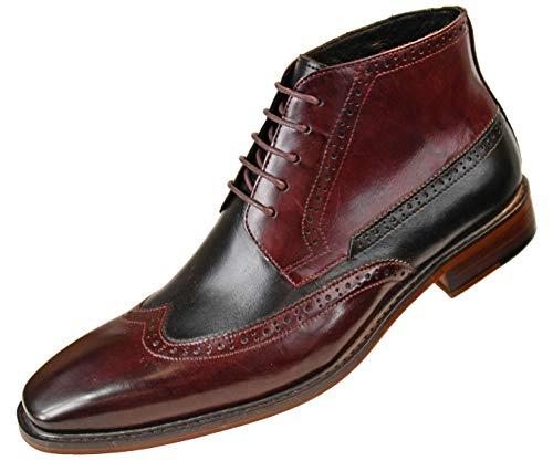 Tone Genuine Calf Leather Wingtip Spectator, Lace up Oxford Dress Shoe ()