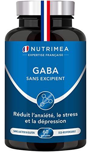 GABA 750 mg/j – Diminution du stress et de l'anxiété – Favorise le sommeil – Calme et sérénité – 60 gélules vegan – Fabrication Française