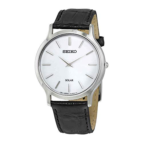 Seiko Men's Acciaio INOX Quartz Watch with Leather Strap, Silver, 20 (Model: Solar Herren)