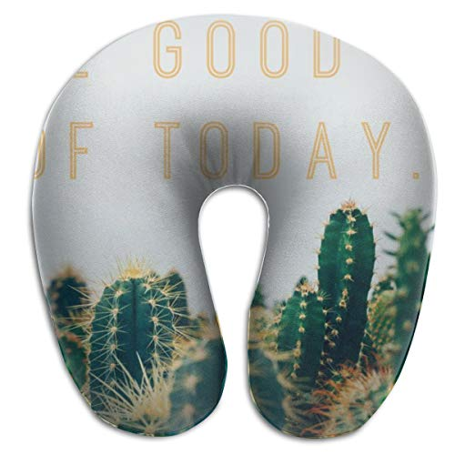 Laurel Neck Pillow Cactus Background Travel U-Shaped Pillow Soft Memory Neck Support for Train Airplane Sleeping