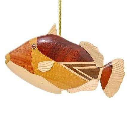 Amazon Wood Ornament Of Hawaiian Reef Triggerfish Humuhumu