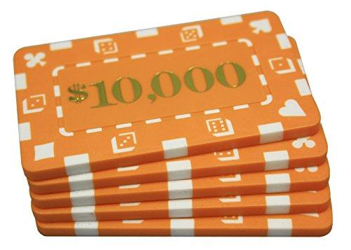 5 Pcs Denominated Rectangular Poker Chips Plaques $10000 Orange