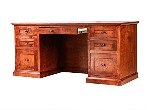 Forest Designs Mission Alder Writing Desk w/ Double Pedestal: 66W X 30H X 24D Unfinished Oak