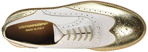 British Passport Wing Cap, Scarpe Oxford Donna bianco