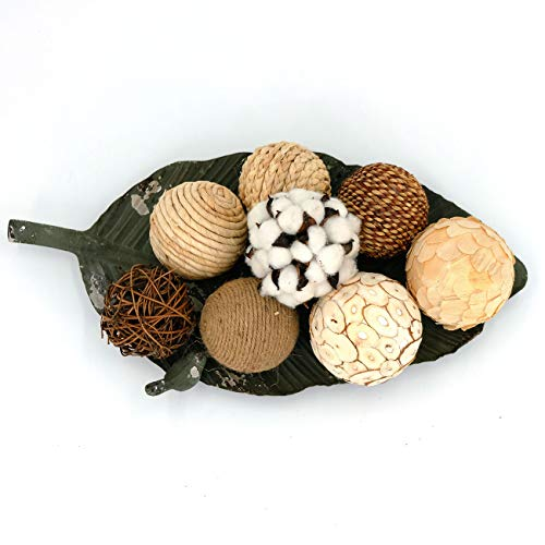 idyllic Decorative Balls for Bowls Natural Wicker 3 Inches Rattan Woven Twig Orbs, String and Cotton Balls Spherical Vase Fillers for Centerpieces - Bag of 8 Brown and White ()