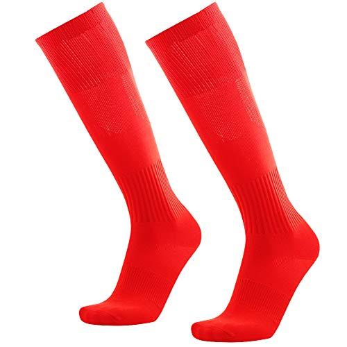Knee High School Uniform Socks, Three street Unisex Solid Long Tube Breathable Softball Football Lacrosse Volleyball Baseball Hockey Soccer Moisture Wicking Team Sports Socks Red 2 Pairs (Best High School Basketball Uniforms)
