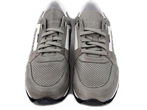 OSVALDO PERICOLI Exton Sneaker Uomo in Pelle e Camoscio Grigio, 558