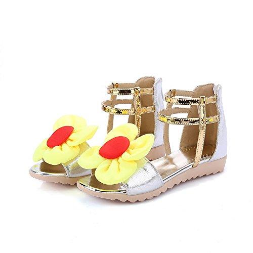 AmoonyFashion Womens Assorted Color PU Low-heels Open Toe Zipper Sandals Silver V9zVmZnmLp