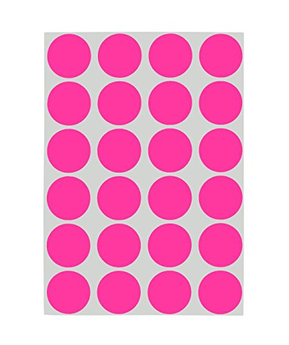 (ChromaLabel 3/4 inch Removable Color-Code Dot Labels on Sheets | 1,008/Pack (Fluorescent Pink))
