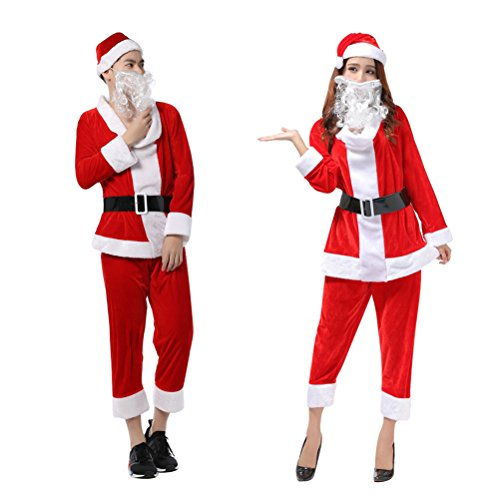 Adult Christmas Outfit (OVOV Unisex Adult Christmas Costume Fancy Outfit with Beards Cosplay for Party (Red))
