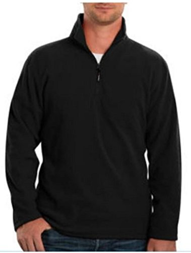 (Kirkland Signature Men's 1/4 Zip 100% Cotton Active Pullover (L, Black))