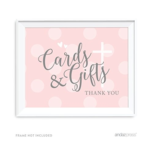 Baby Gift Thank You Card Packs : Andaz press blush pink and gray baby girl baptism