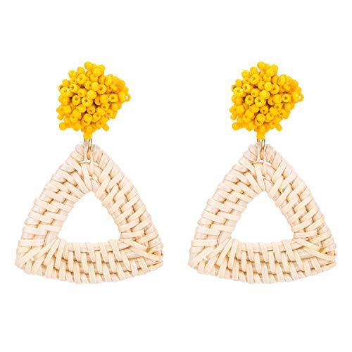 Yellow Beaded Earrings Triangle Handmade Lightweight Braid Rattan Earrings for Women - Geometric Yellow Earrings