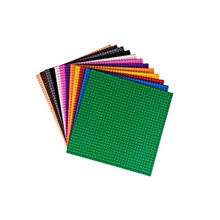 """Strictly Briks Classic Baseplates 10"""" x 10"""" Building Brick Base Plates 12 Pack 100% Compatible with All Major Brands   12 Flat Bottom Bases Great for DIY Play Tables   Rainbow Colors"""