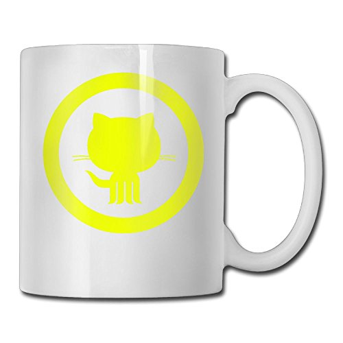 PDCUP Cat Clipart(golden) Unisex Custom Cups Lead-free White Tea Cup 11oz -