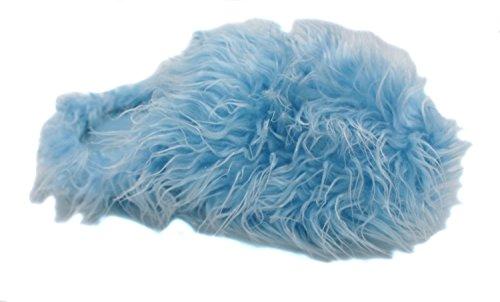 Faire Des Vagues Womens Bleu Pantoufles Super Velues Poilu