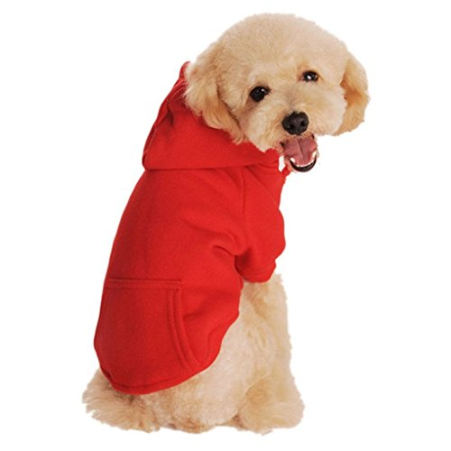 Hihihappy Lovely Clothes,Autumn Fleece Sweater Pocket Hoodie Dog Cat Clothes Dog Costume Apparel (XXL, Red) GrayX-Large
