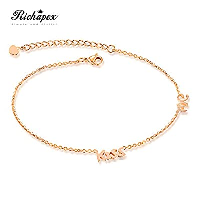 5b4d2f3359 Buy Richapex Rose Gold Plated Stainless Steel Ankle Bracelet Kiss Me Anklet  for Women & Girls 21cm+5cm Online at Low Prices in India | Amazon Jewellery  ...