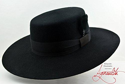 The Dress Bolero - Black Wool Felt Flat Crown Bolero Hat - Wide Brim - Men Women by HNC-HatWorks