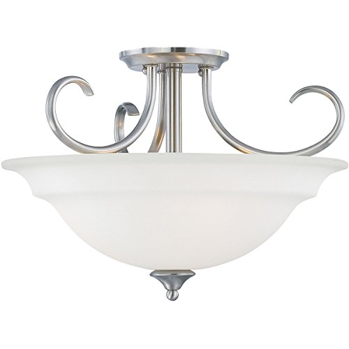 Bella Collection Two Light Vanity - Thomas Lighting SL860778 Bella Collection 3 Light Convertible Semi-Flush Ceiling Light, Brushed Nickel