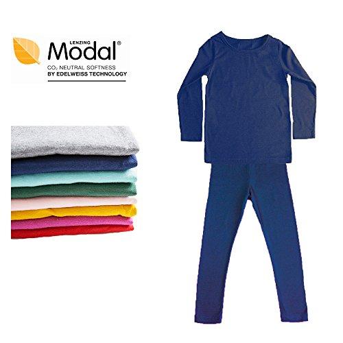 Long Underwear Set Breathing Base Layer Long John Pajama for Boy Girl Toddler (2~3 Year, Navy) (Cotton Thermal Long Underwear)