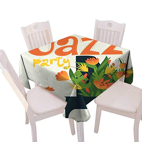(longbuyer Dinning Tabletop Decoration Jazz Festival Vector Poster with Piano Musician Square Tablecloth W 36