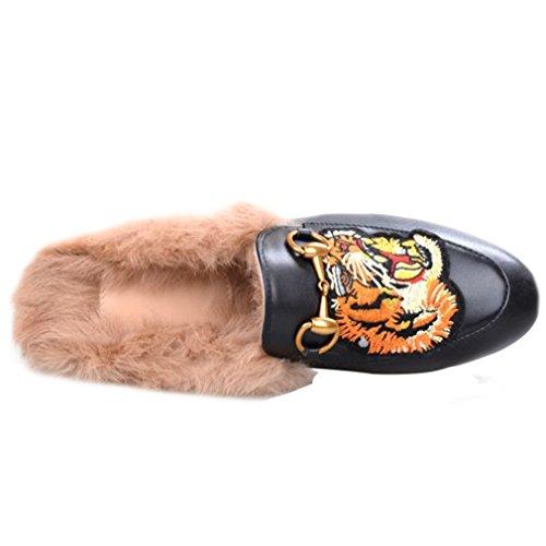 Enmayer Dames Zwart Retro Mode Loafers Ronde Neus Glijdt Op Platte Buiten Slippers Met Harige En Gesp Zwart # 2
