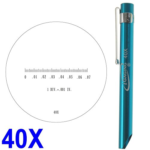 iGaging 36-PM40 Pocket Scope Magnifier Scale, 40X Magnification Microscope Scale Range 0-0.07