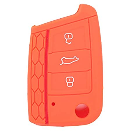 SEGADEN Silicone Cover Protector Case Skin Jacket fit for VOLKSWAGEN 3 Button Remote Key Fob CV9801 Pink
