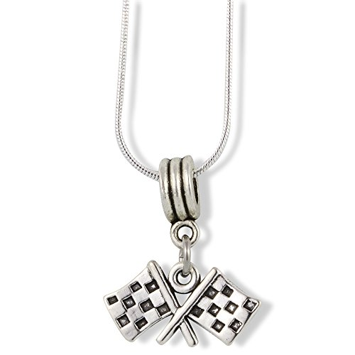 Racing Flags Necklace | Pendant Charm Necklace Jewelry on Silver Plated Snake Chain Checkered Racing Flags Gift for Men Women Boys and Girls