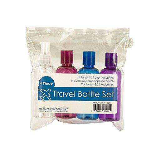Kole Imports OL582 Travel Bottle Set in Zippered Pouch