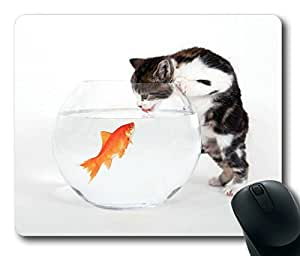Kitten Vs Fish Masterpiece Limited Design Oblong Mouse Pad by Cases & Mousepads
