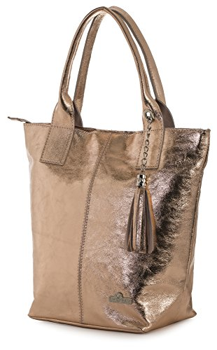 LIATALIA Womens Genuine Italian Soft Leather Large Tote Shopper Tassel and Pouch Shoulder Handbag - AURORA [Metallic - Rose Gold] ()