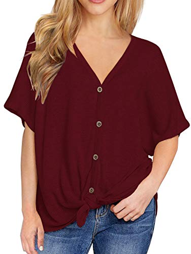(IWOLLENCE Womens Loose Henley Blouse Bat Wing Short Sleeve Button Down T Shirts Tie Front Knot Tops Wine Red L )