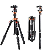K&F Concept Camera Tripods, Lightweight Compact Tripod Monopod with 360 Degree Ball Head, Quick Release Plate, Detachable Monopod 8KG Load Capacity for SLR DSLR Camera