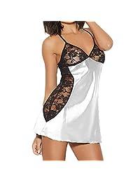f101b292c3b BOLUOYI Fashion Women Plus Size Babydoll Lace Silks Lingerie G-String Set  Underwear