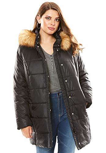 Roamans Women's Plus Size Classic-Length Quilted Parka with Hood - Black, 5X (Size 5x Womans Parka)