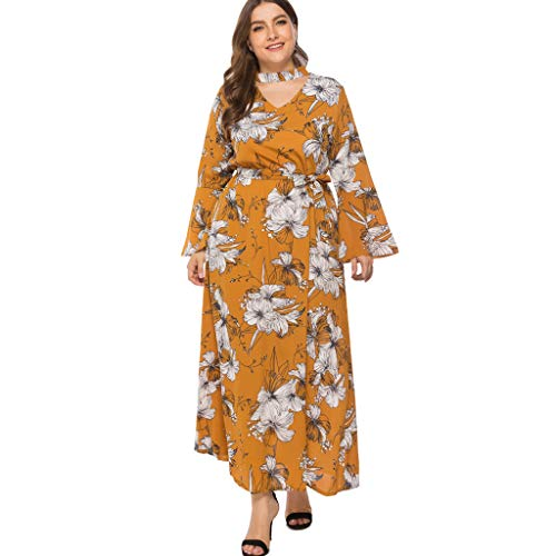 Flare Print Wrap - Plus Size Tunic Dress Sexy Women Wrap V-Neck Flare Sleeve Print Bandage Loose Party Summer Vintage Casual Yellow