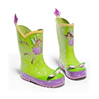 Kidorable Green Fairy Natural Rubber Rain Boots w/Fun Flower Pull On Heel Tab