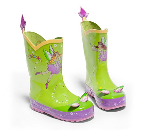 Kidorable Green (Kidorable Green Fairy Natural Rubber Rain Boots w/Fun Flower Pull On Heel Tab (Little Kid), 11 M US)